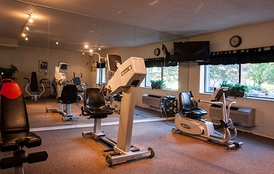 exercise room with elliptical machines and more