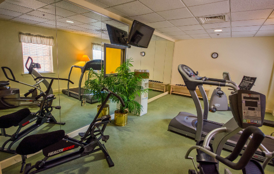 exercise room with ellipticals and a television