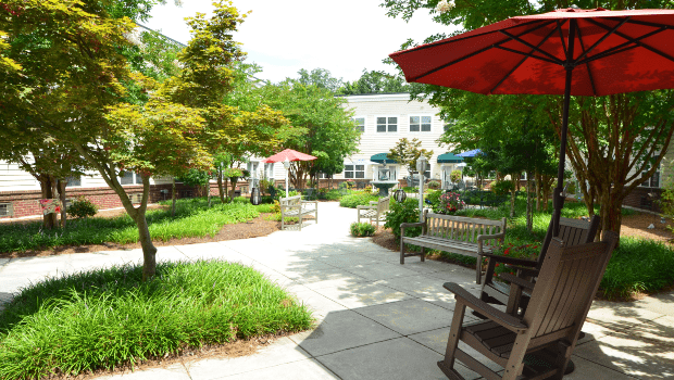 outdoor patio with walking paths and tables