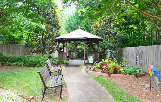 a gazebo in the backyard