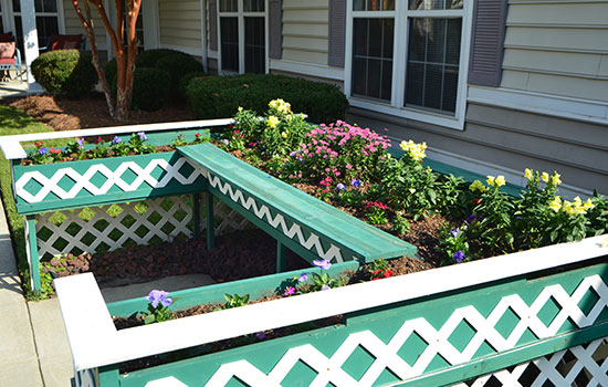 garden with a flower box outside