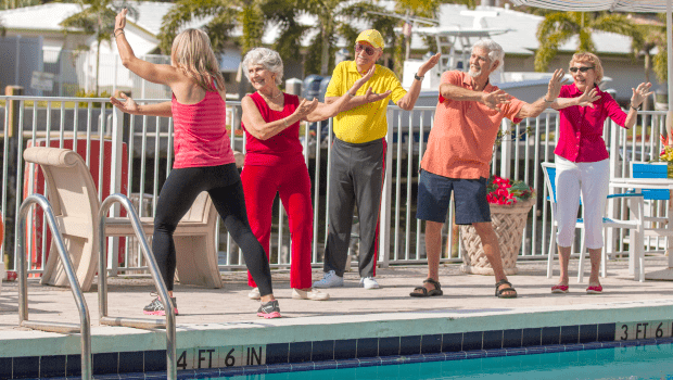 FSPR Pompano Exercise Class Near Outside Pool