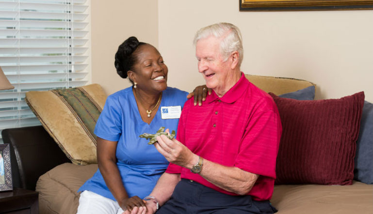 caregiver and resident