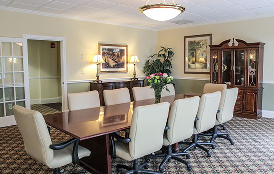 Private conference Room with a long tables