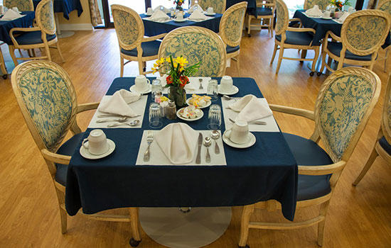 nicely prepared dining room table