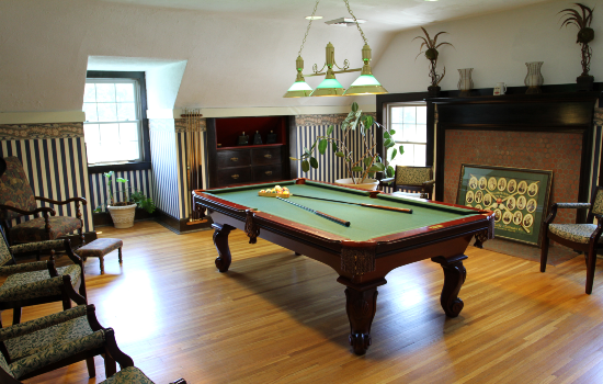a billiards room with everything you need to play