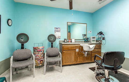 hair salon with multiple seats