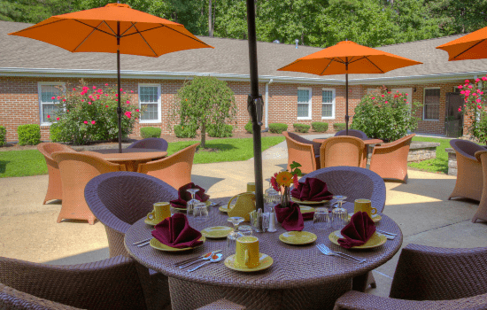 A photo of one of Dominion Village's patios.