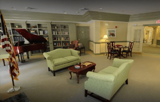 spacious lounge with bookshelves and nice furniture