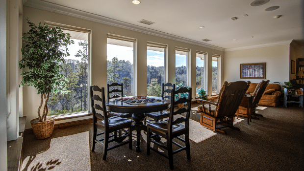 Cameron Hall of Ellijay Lounge with Tables and Windows
