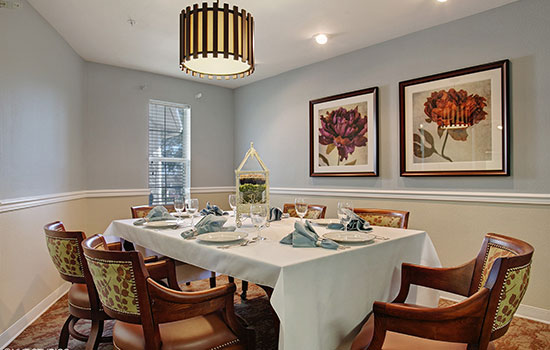 private style dining room with a warm atmosphere