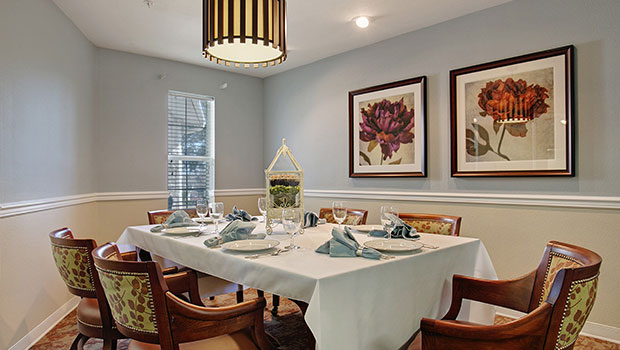 private style dining room with a big table