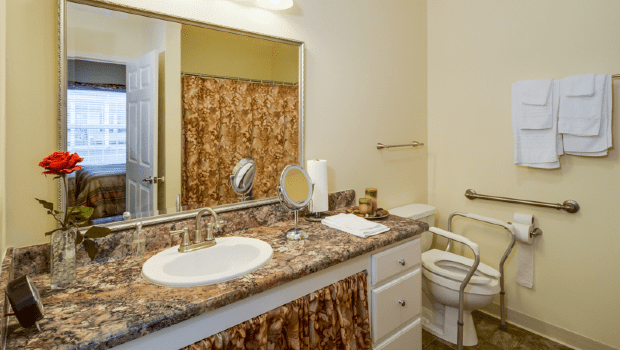 good sized bathroom with a large sink