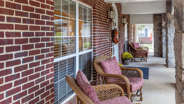 outdoor porch with comfortable chairs