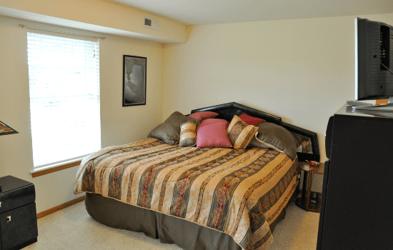 bedroom with a large bed and nice comforters