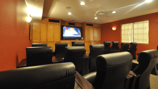 private theater room with comfortable seats