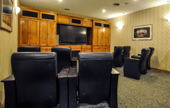 private theater with comfortable seating and soft lighting