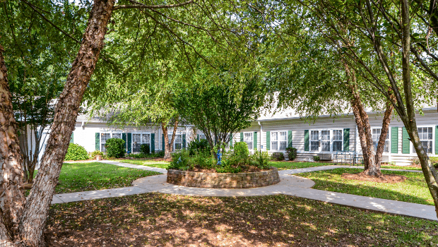 outdoor walking paths and patio under the trees