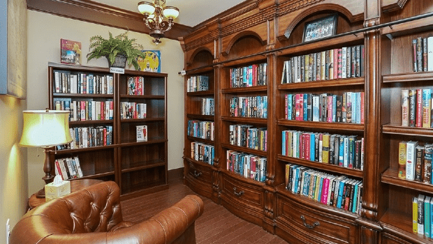 library with nice wooden shelves and many books