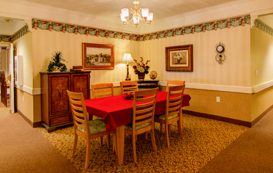 a private dining table in a corner between hallways
