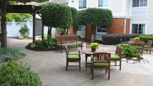 outdoor patio with tables and nice chairs