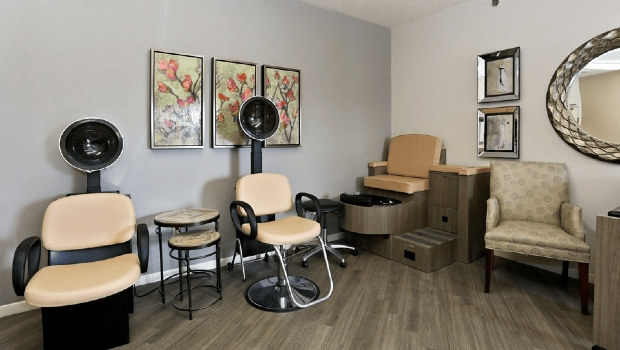 hair salon with multiple hair drying stations
