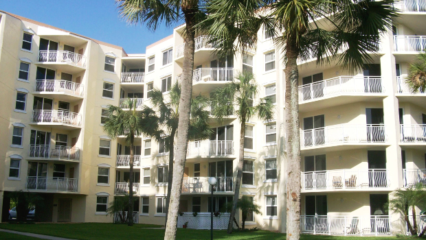 view of the outside of the building with a lawn and palm trees