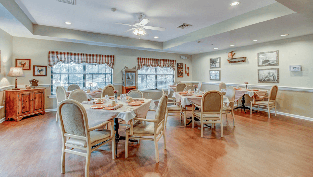 large dining room with multiple tables