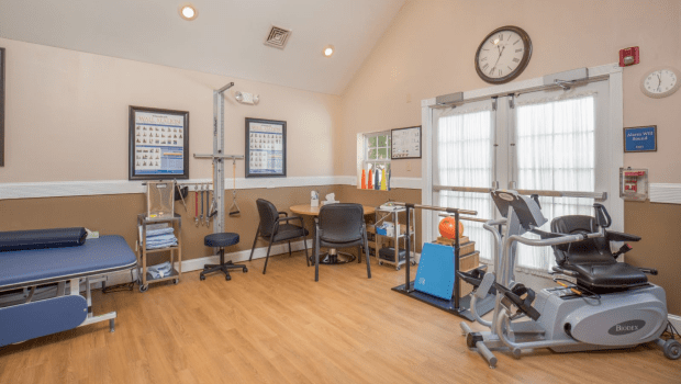 rehabilitation room with workout equipment