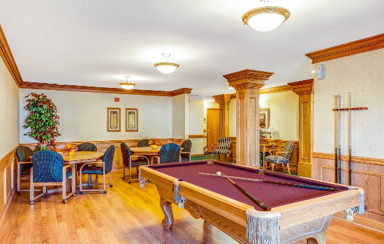 large billiards room with a pool table and lounge chairs