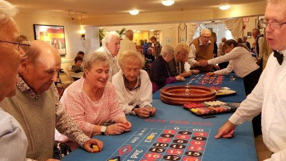 residents having fun on casino night