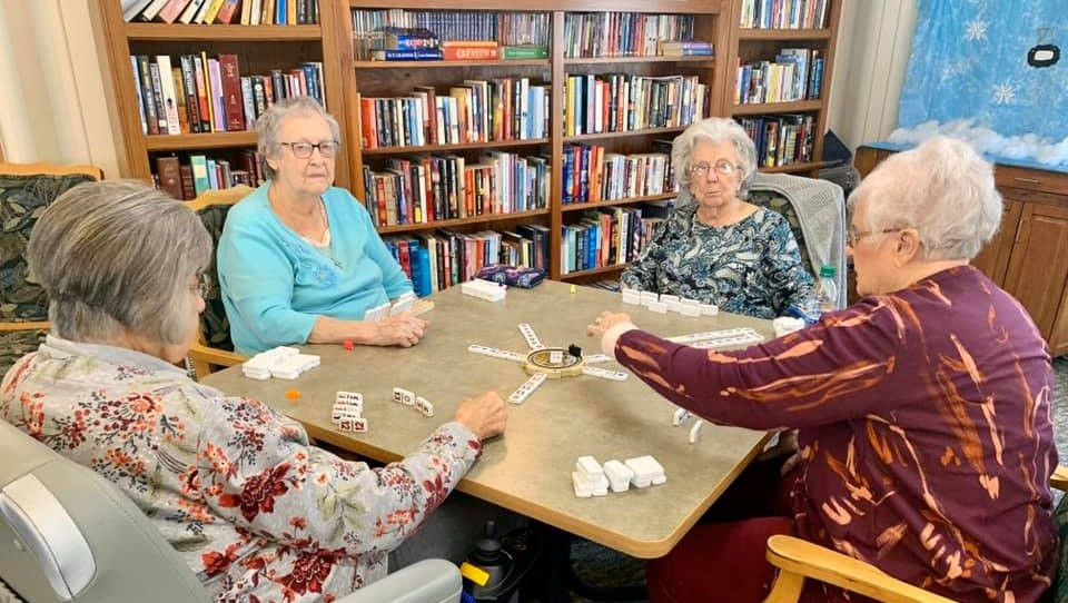 a table set up for games in the library