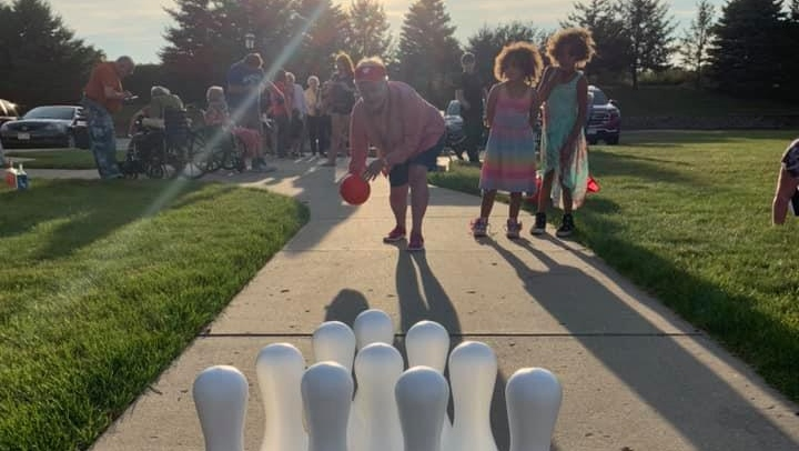 a fun game of bowling outside