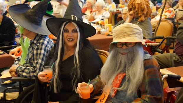 residents dressed up on Halloween