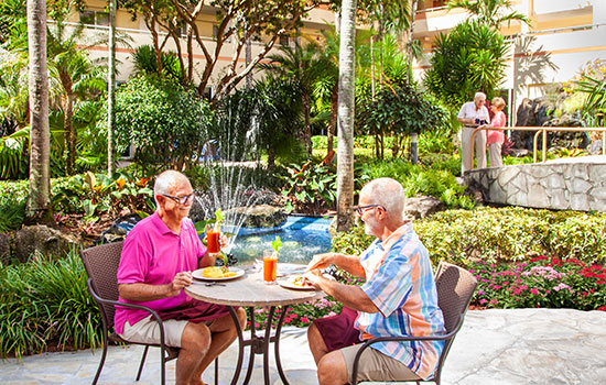 residents eating in the courtyard