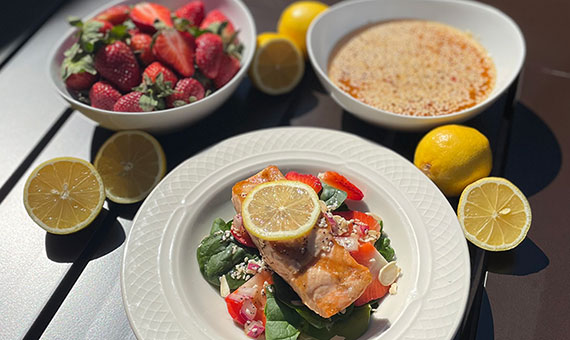 salmon, strawberries and lemons